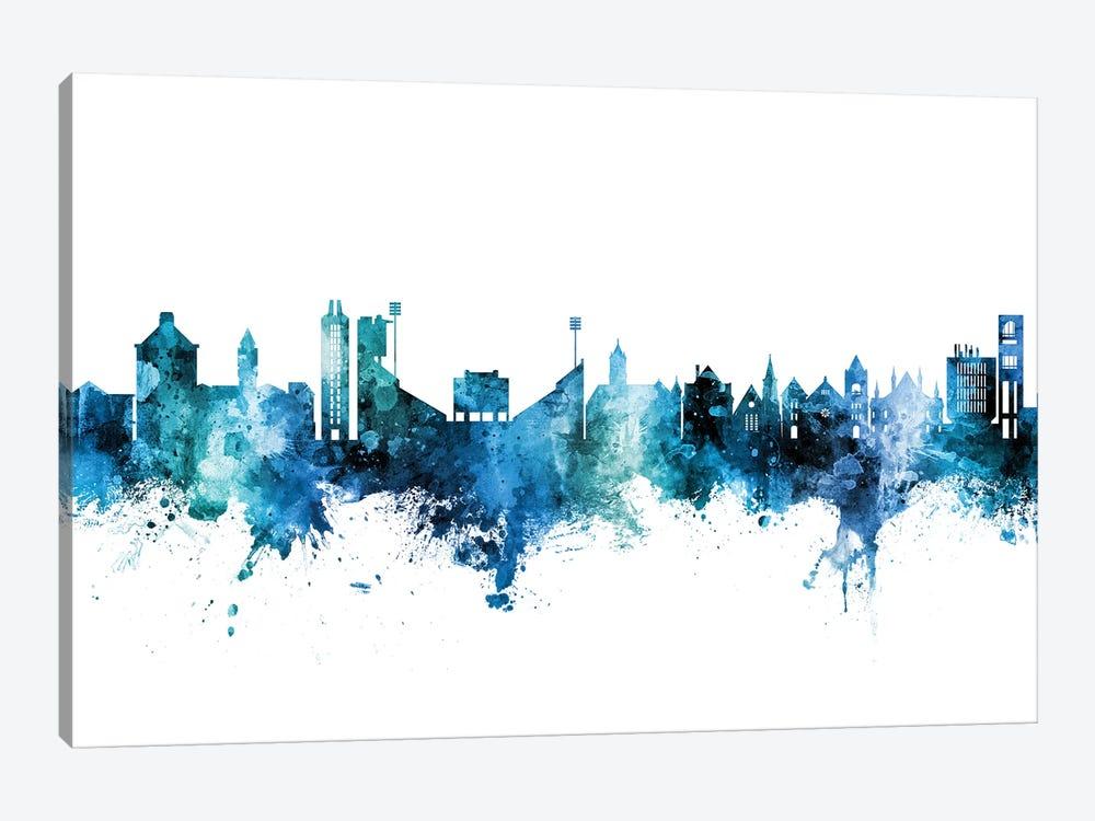 Lawrence Kansas Skyline Blue Teal by Michael Tompsett 1-piece Canvas Artwork