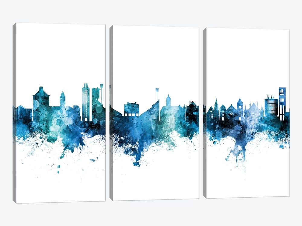 Lawrence Kansas Skyline Blue Teal by Michael Tompsett 3-piece Canvas Art
