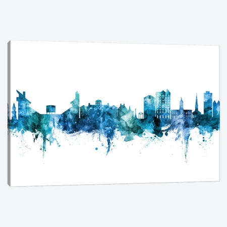 Athens Georgia Skyline Blue Teal Canvas Print #MTO2675} by Michael Tompsett Canvas Wall Art