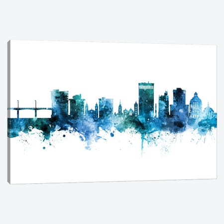 Asheville Skyline Blue Teal Canvas Print #MTO2676} by Michael Tompsett Canvas Artwork