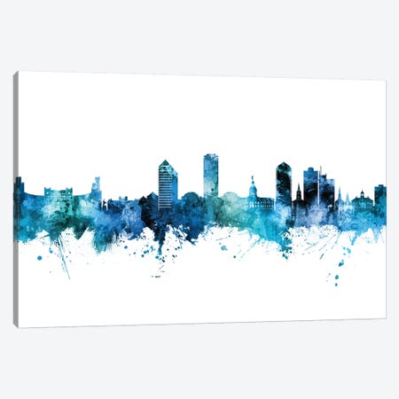 Tallahassee Florida Skyline Blue Teal Canvas Print #MTO2677} by Michael Tompsett Canvas Wall Art
