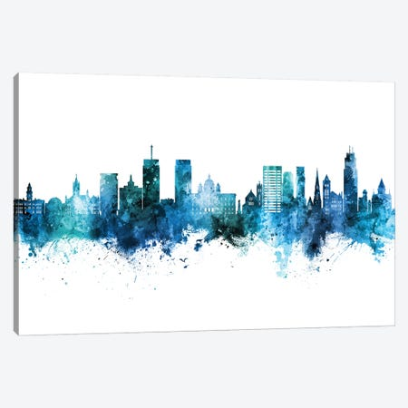 Syracuse New York Skyline Blue Teal Canvas Print #MTO2678} by Michael Tompsett Canvas Print
