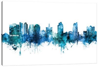 San Jose California Skyline Blue Teal Canvas Art Print