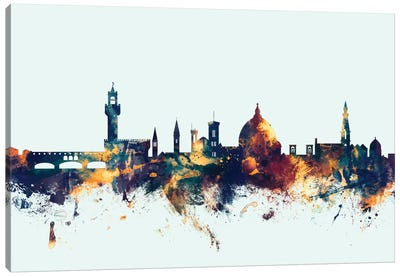 Skyline Series: Florence, Italy On Blue Canvas Print #MTO267