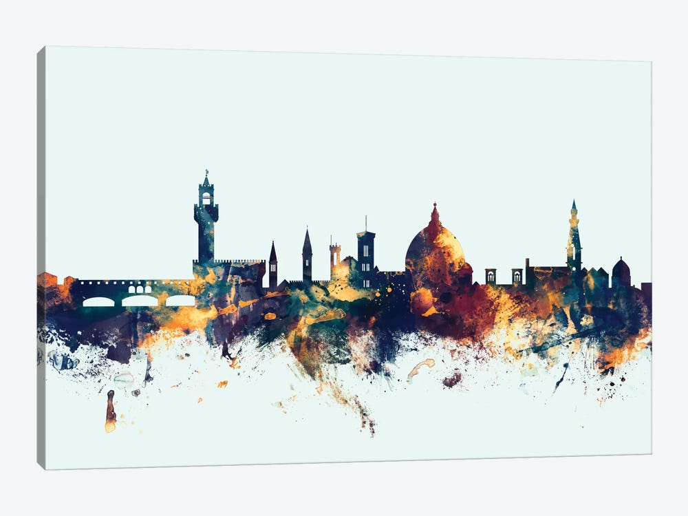 Skyline Series: Florence, Italy On Blue by Michael Tompsett 1-piece Canvas Art Print