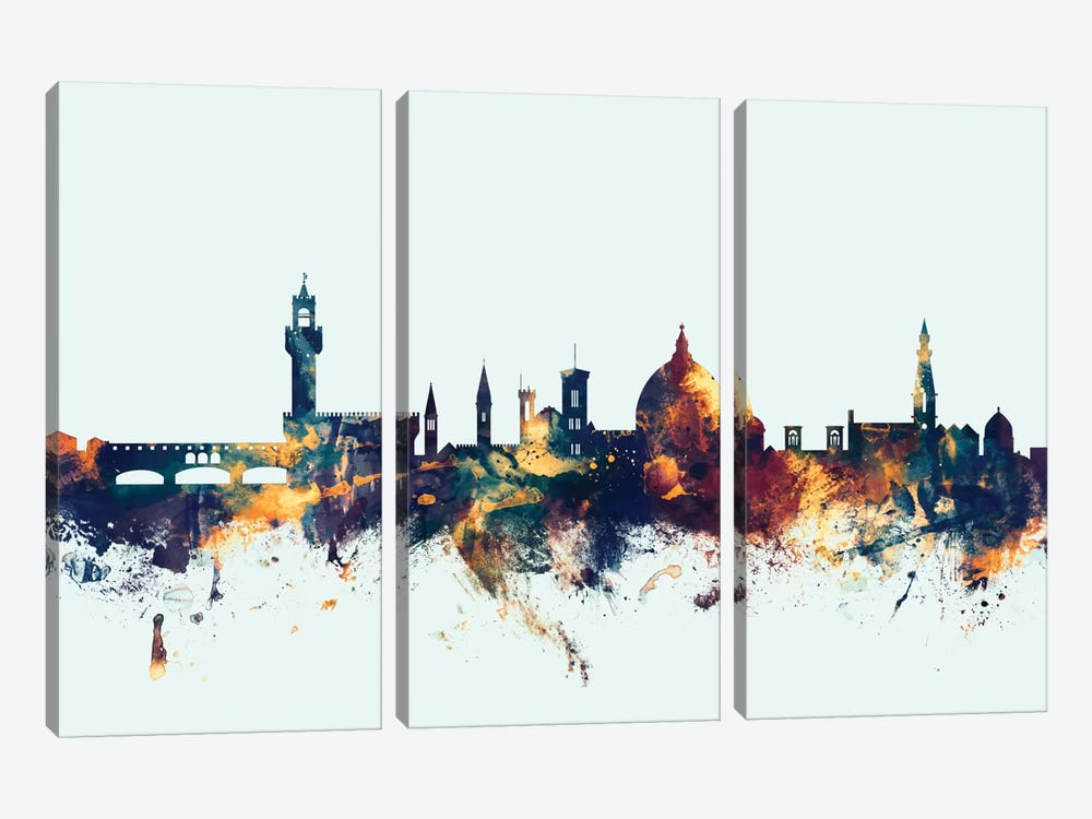 Skyline Series: Florence, Italy On Blue by Michael Tompsett 3-piece Canvas Art Print