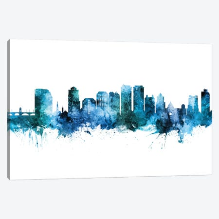 West Palm Beach Skyline Blue Teal Canvas Print #MTO2680} by Michael Tompsett Canvas Artwork