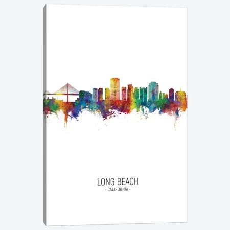 Long Beach California Skyline Portrait Canvas Print #MTO2681} by Michael Tompsett Canvas Art