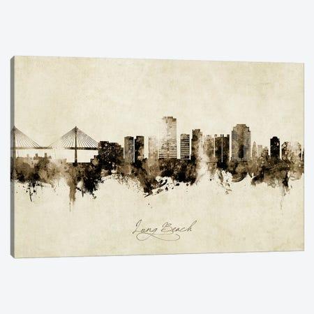 Long Beach California Skyline Vintage Canvas Print #MTO2682} by Michael Tompsett Canvas Wall Art