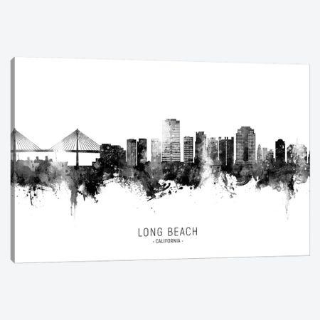 Long Beach California Skyline Name Bw Canvas Print #MTO2683} by Michael Tompsett Canvas Art