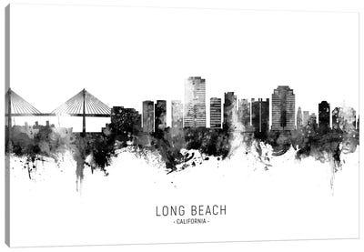 Long Beach California Skyline Name Bw Canvas Art Print