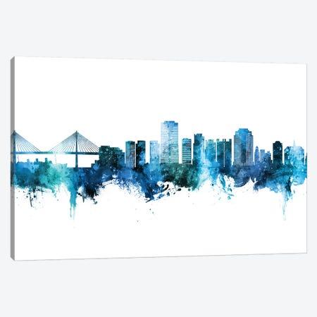 Long Beach California Skyline Blue Teal Canvas Print #MTO2685} by Michael Tompsett Art Print