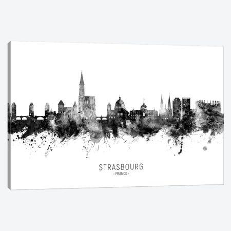 Strasbourg France Skyline Name Bw Canvas Print #MTO2688} by Michael Tompsett Canvas Wall Art