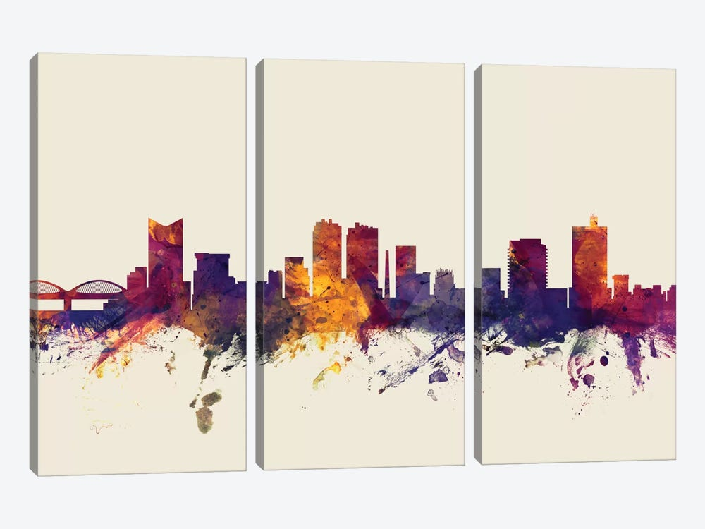 Skyline Series: Fort Worth, Texas, USA On Beige by Michael Tompsett 3-piece Canvas Art
