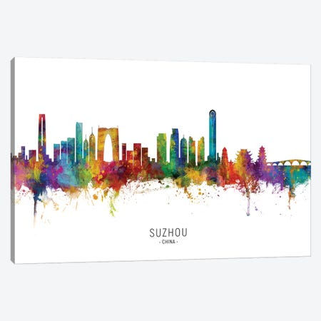 Suzhou China Skyline City Name Canvas Print #MTO2694} by Michael Tompsett Canvas Artwork