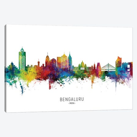 Bengaluru India Skyline City Name Canvas Print #MTO2699} by Michael Tompsett Canvas Print