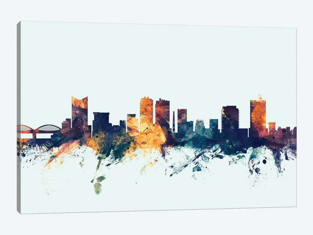 Fort Worth, Texas, USA On Blue by Michael Tompsett 1-piece Art Print