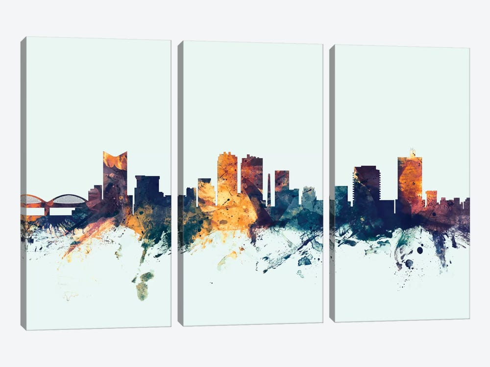 Fort Worth, Texas, USA On Blue by Michael Tompsett 3-piece Canvas Print