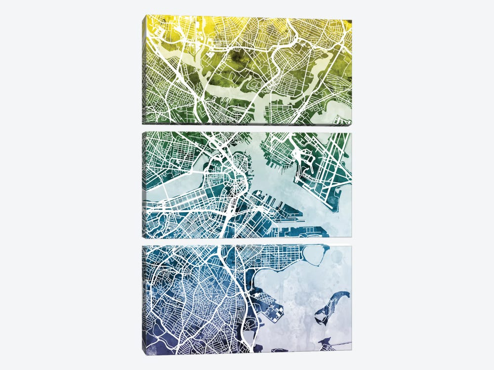 Boston, Massachusetts, USA by Michael Tompsett 3-piece Canvas Art Print