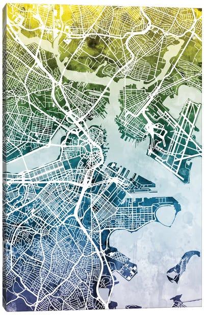 Color Gradient Urban Street Map Series: Boston, Massachusetts, USA Canvas Print #MTO26