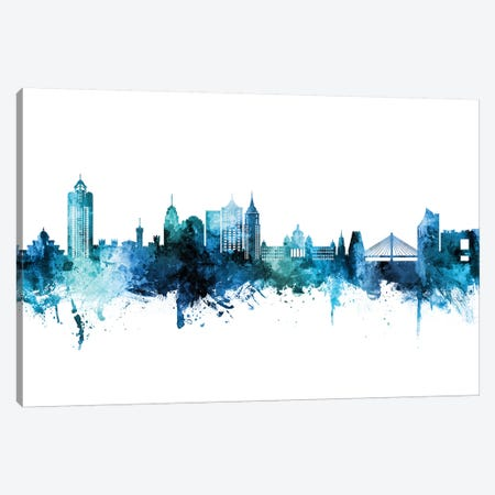 Bengaluru India Skyline Blue Teal Canvas Print #MTO2700} by Michael Tompsett Canvas Art Print