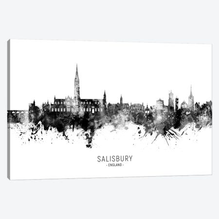 Salisbury England Skyline Blue Teal Canvas Print #MTO2706} by Michael Tompsett Canvas Artwork