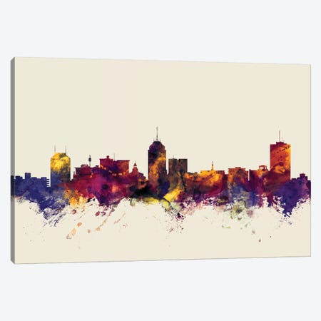 Fresno, California, USA On Beige Canvas Print #MTO270} by Michael Tompsett Canvas Artwork