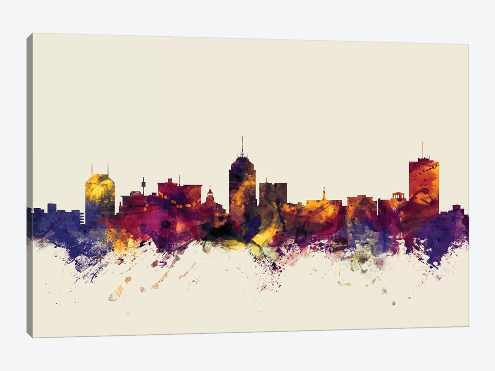 Fresno, California, USA On Beige by Michael Tompsett 1-piece Canvas Print