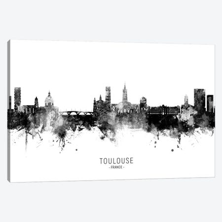 Toulouse France Skyline Name In Black & White Canvas Print #MTO2713} by Michael Tompsett Canvas Wall Art