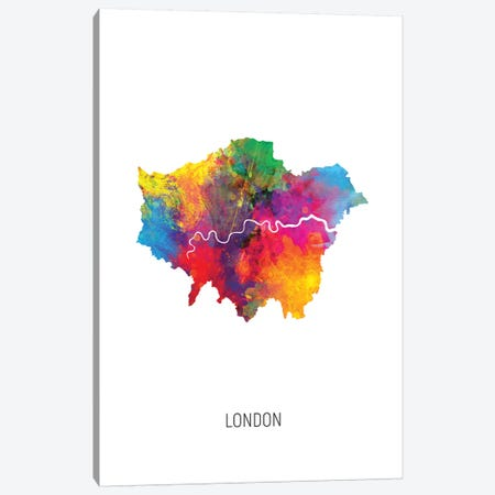 London Map 3-Piece Canvas #MTO2716} by Michael Tompsett Canvas Print