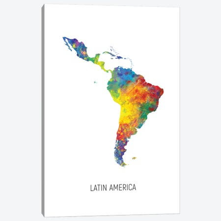Latin America Map Canvas Print #MTO2719} by Michael Tompsett Canvas Artwork