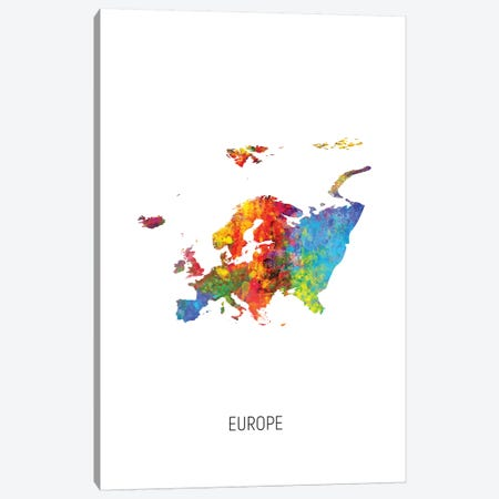 Europe Map Canvas Print #MTO2720} by Michael Tompsett Canvas Art Print
