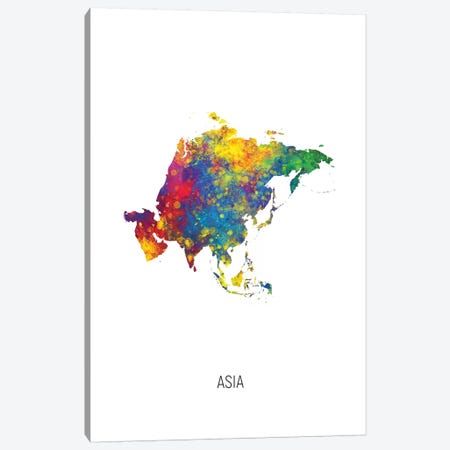 Asia Map Canvas Print #MTO2722} by Michael Tompsett Art Print
