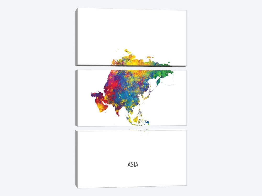 Asia Map by Michael Tompsett 3-piece Canvas Art