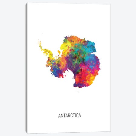 Antarctica Map Canvas Print #MTO2723} by Michael Tompsett Canvas Print