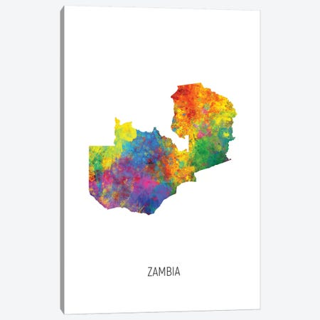Zambia Map Canvas Print #MTO2725} by Michael Tompsett Canvas Art