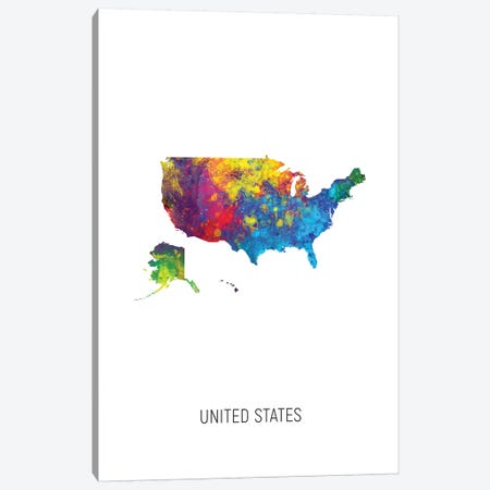 United States Map Canvas Print #MTO2728} by Michael Tompsett Canvas Print