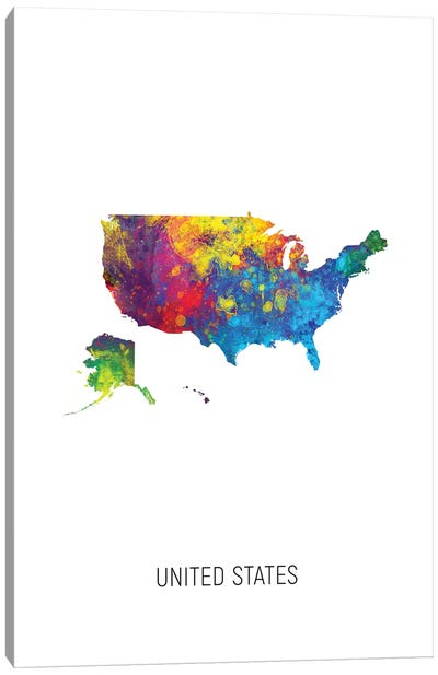 United States Map Canvas Art Print