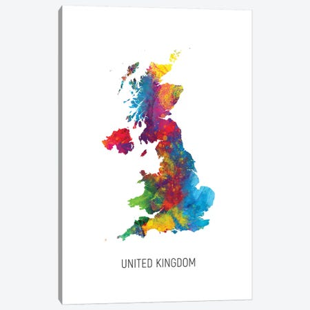 United Kingdom Map 3-Piece Canvas #MTO2729} by Michael Tompsett Canvas Print