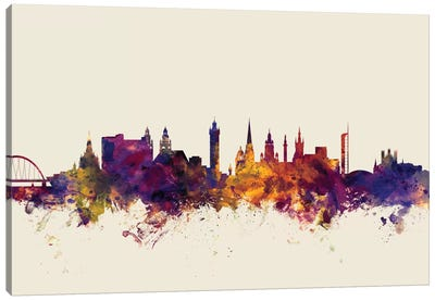 Skyline Series: Glasgow, Scotland, United Kingdom On Beige Canvas Art Print