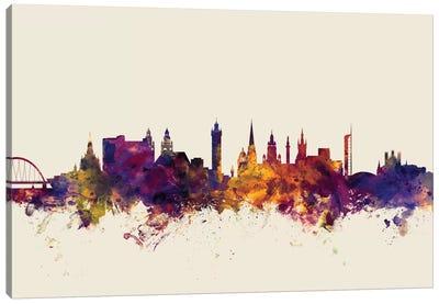 Skyline Series: Glasgow, Scotland, United Kingdom On Beige Canvas Print #MTO272