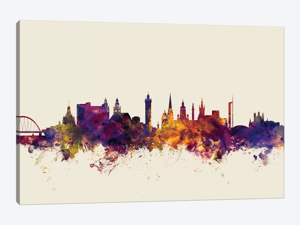 Skyline Series: Glasgow, Scotland, United Kingdom On Beige by Michael Tompsett 1-piece Canvas Print
