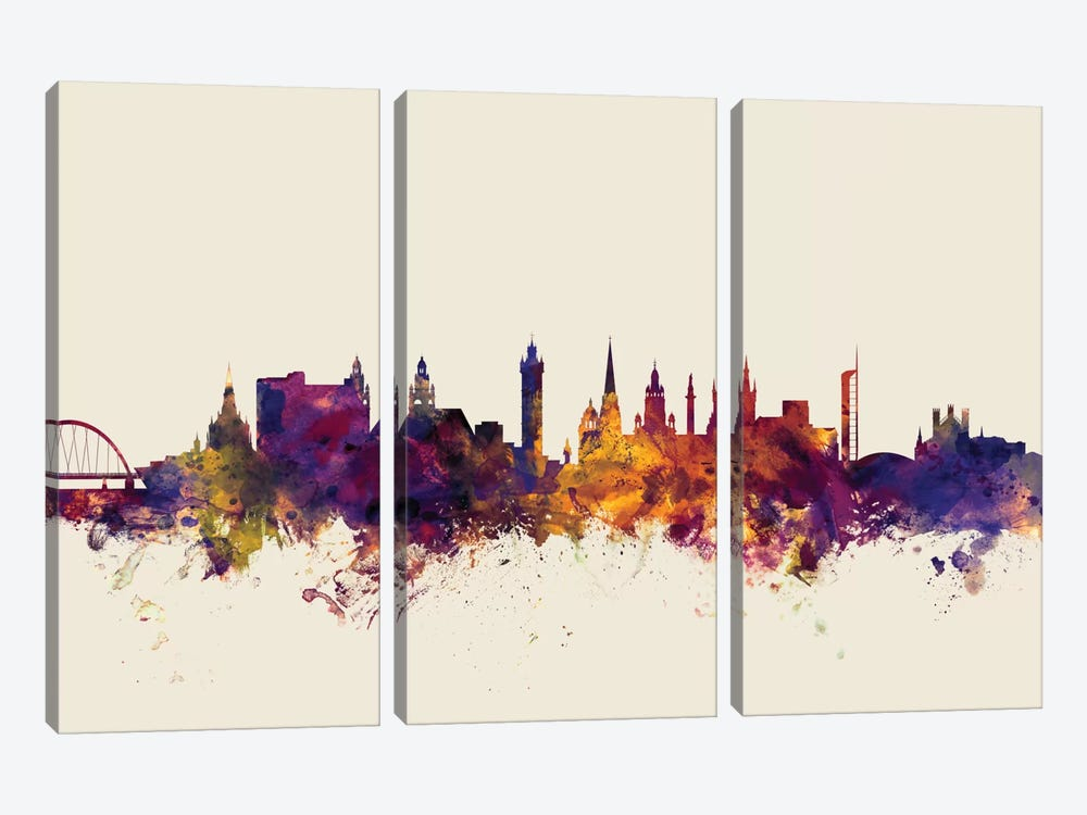 Skyline Series: Glasgow, Scotland, United Kingdom On Beige by Michael Tompsett 3-piece Canvas Print