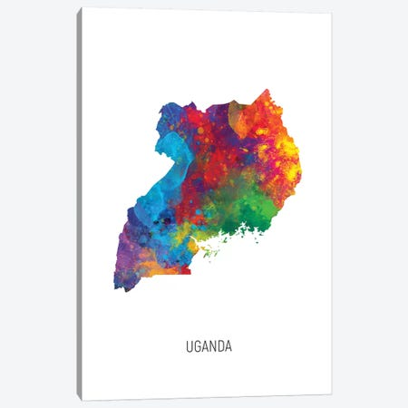Uganda Map Canvas Print #MTO2730} by Michael Tompsett Canvas Art