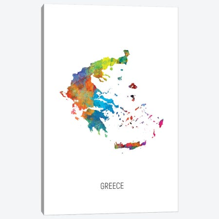 Greece Map Canvas Print #MTO2733} by Michael Tompsett Canvas Wall Art