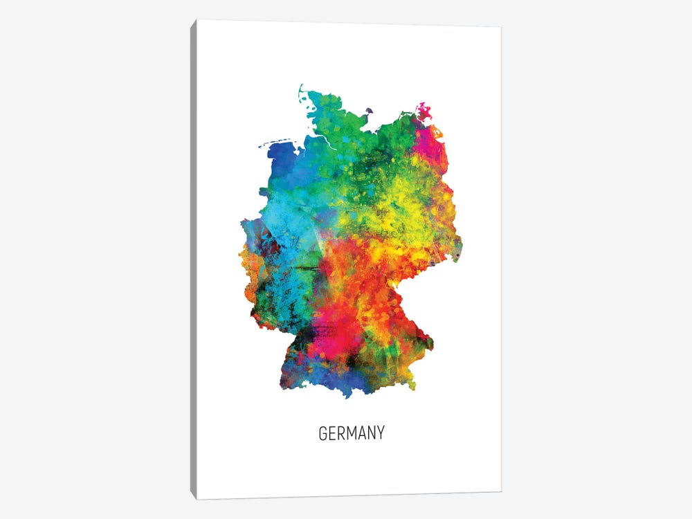 Germany Map by Michael Tompsett 1-piece Canvas Print
