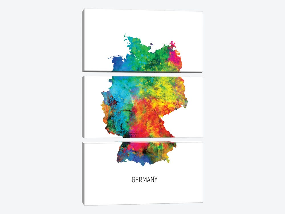 Germany Map by Michael Tompsett 3-piece Canvas Print