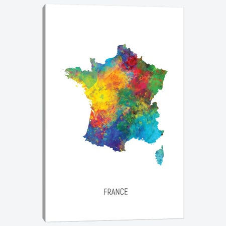 France Map Canvas Print #MTO2735} by Michael Tompsett Canvas Print
