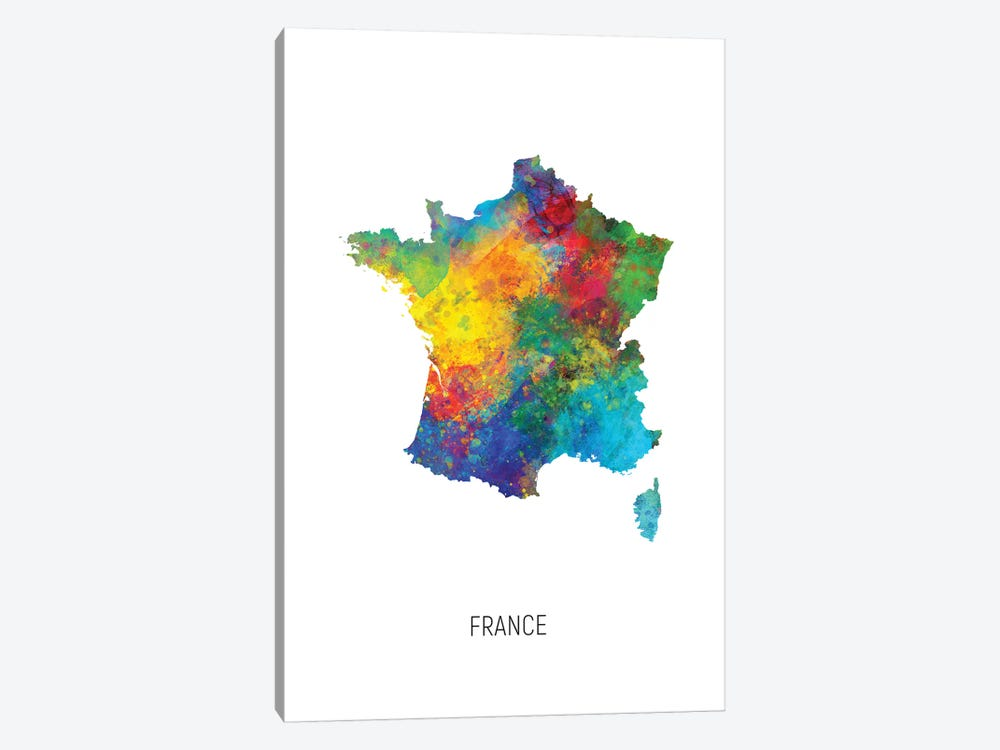 France Map by Michael Tompsett 1-piece Canvas Art