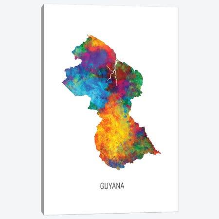 Guyana Map Canvas Print #MTO2738} by Michael Tompsett Canvas Art